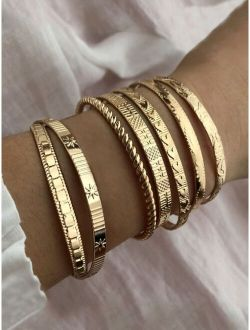 7pcs Textured Metal Bracelet