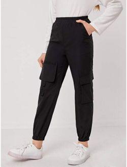 Girls Flap Pocket Detail Cargo Pants