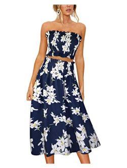 Women's Floral Print Tube Crop Top Maxi Skirt Set 2 Piece Outfit Dress With Pockets