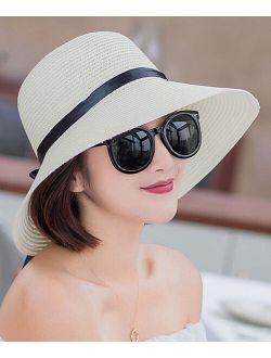 Pasha White & Black Ribbon Straw Bucket Hat