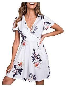 Womens Summer Short Sleeve Floral V Neck Casual Swing Dress
