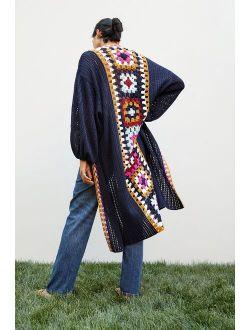Square Crochet-Trimmed Duster Kimono