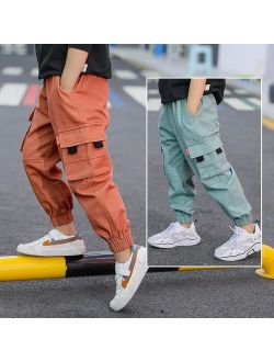 Pea Green Khaki Orange Cargo Pants for Boys Causal Trousers New Fashion Kids Boy Cargo Pants with Side Pockets For 4-13 Years