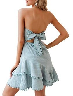 Women's Strapless Ruffle A-line Dress Striped Tie Back Dress