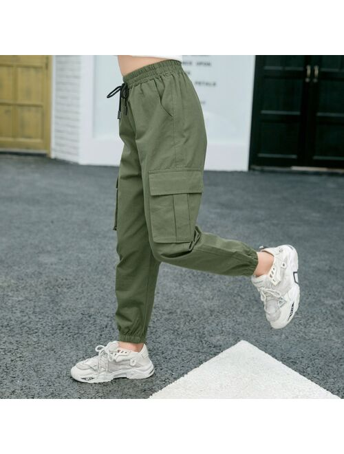 Pants for Kids Girls Cargo Pants Pure Color Trousers Pocket Loose Sport Pants High Waist Elastic Children Casual Running Pants