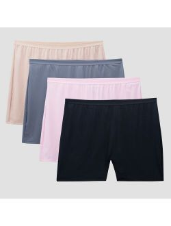 Women's 4pk Microfiber Slip Shorts - Colors May Vary