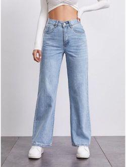 Basics Stone Wash Middle-waisted Straight Jeans