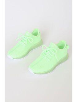 Jenney Neon Green Knit Sneakers