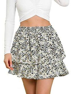 Women's Layered Ruffle Hem Elastic Waist A-line Skater Floral Mini Skirt