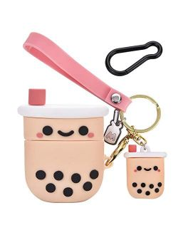 Cute Airpod Case Cover with Keychain Girly Pink Boba Milk Tea Design Compatible with Airpods 2&1 Charging Case for Women and Girls