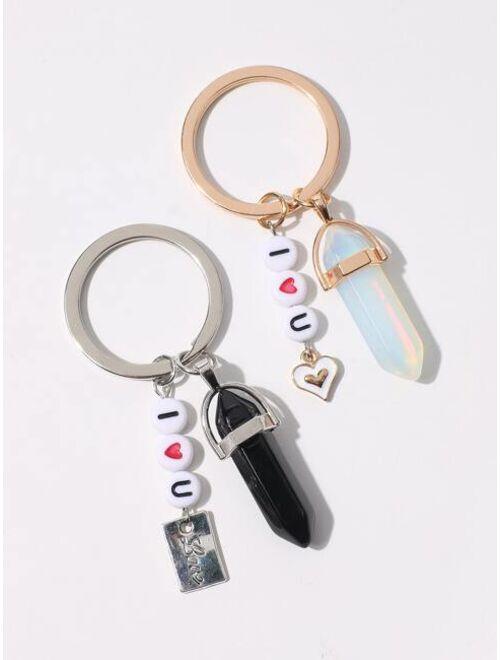 Shein 2pcs Letter Bead Pendant Keychain