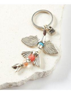 UNOde50 Orange Glass Beads & Silver-Plated Piscis Nadanti Key Chain