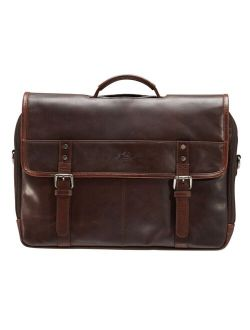 """Mancini Men's Double Compartment Briefcase with RFID Secure Pocket for 15.6"""" Laptop and Tablet"""