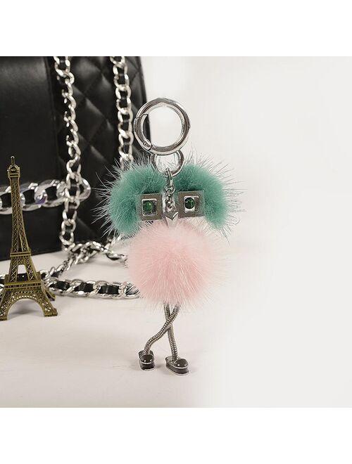 Classic Chain Luxury Mink Fur Pendant Cute Doll Keyring Bag Charm Holder Accessories Car/Mobile IIaveros Chaveiro Keychains