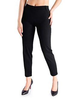 Yogipace,Belt Loops,Women's Petite/Regular/Tall Cigarette Dress Yoga Pants Tapered Ankle Pant Skinny Leggings Work Pants