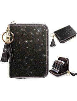 Women's Small Credit Card Wallet RFID Glitter Cute Credit Card Holder Wallets for Women