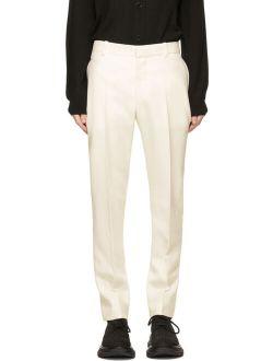 Alexander McQueen White Wool Cigarette Trousers