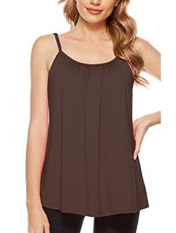 jonivey Women Camisole with Removable Shelf Bra Spaghetti Straps Lounge Padded Cami Tank Top