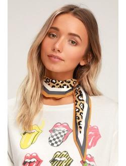 Fancy Feline Yellow Leopard Print Handkerchief Scarf