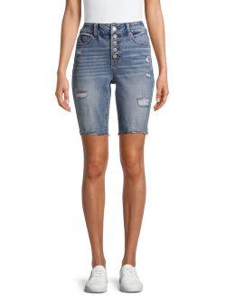 Women's Fashion Frayed Hem Bermuda Shorts