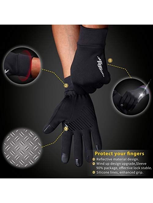 SIMARI Work Gloves for Men Women with Grip, Freezer Gloves for Cold, Winter Hiking Running, Touchscreen Waterproof Warm, Perfect for Yard, Gym Workout, Outdoor, Driving,