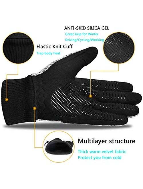 MOREOK Winter Gloves,-20°F 3M Thinsulate Warm Gloves Cold Weather Gloves Windproof Touch Screen Gloves - for Cycling,Riding,Running,Outdoor Sports,for Men and Women