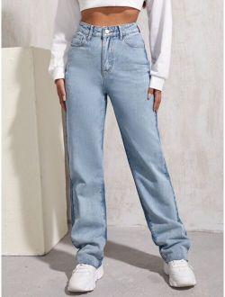 High Waist Two Tone Boyfriend Jeans