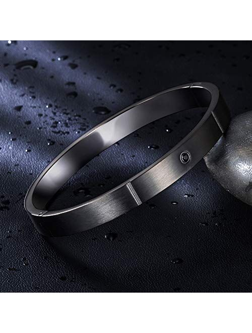 WISTIC Mens Cuff Bangle Bracelets Black Bangle with Stainless Steel Bracelet Cuff and Magnetic-Clasp Plain Polished for Men
