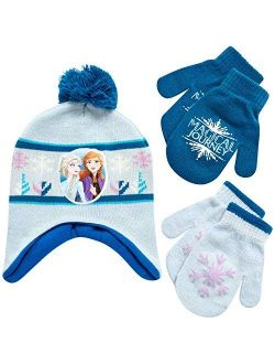 Girls Frozen Winter Hat And 2 Pair Gloves Or Mittens (age 2-7)