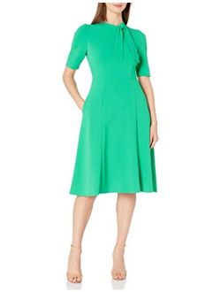 Women's Short Sleeve Tie-neck Stretch Knit Crepe Fit And Flare Dress