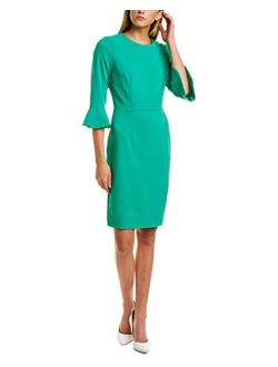 Women's 3/4 Bell Sleeve Stretch Crepe Sheath Dress