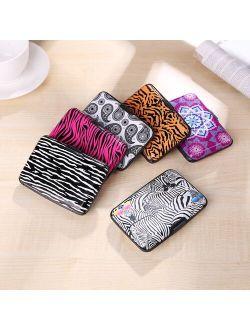 MOJOYCE Fashion Credit Card Bag Holder RFID Aluminum Zebra Animal Pattern Wallet Women Men Metal Business Bank Card Protector Case Purse