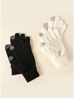 2pairs Simple Knitted Gloves
