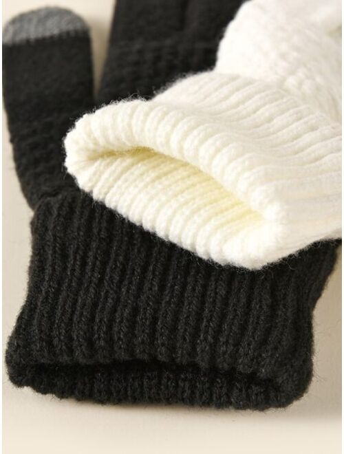 Shein 2pairs Simple Knitted Gloves