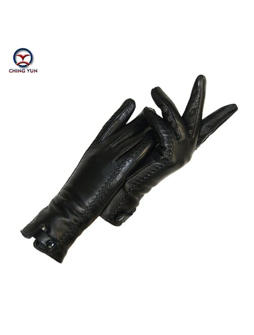 CHING YUN New Women's Gloves Genuine Leather Winter Warm Fluff Woman Soft Female Rabbit Fur Lining Riveted Clasp High-quality Mittens
