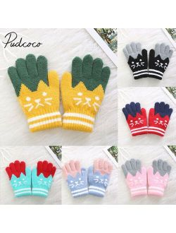 pudcoco 2019 Brand New Child Kids Baby Girls Boys Winter Knitted Gloves Cartoon Warm Mittens Toddlers Outdoor Cartoon Cats Cute Gloves