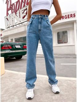 High Waisted Snow Washed Boyfriend Jeans