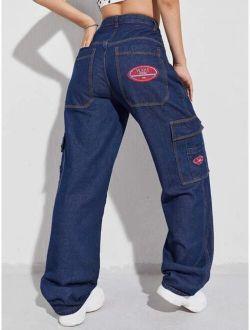 Patched Detail Flap Pocket Wide Leg Jeans