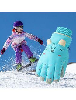 Children Winter Warm Ski Gloves Kids Boys girls Snow Windproof Windproof Mittens Outdoor Sports Extended Wrist Skiing Gloves