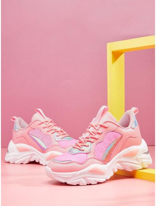 Shein Holographic Panel Chunky Sneakers
