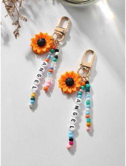 2pcs Flower Charm Keychain