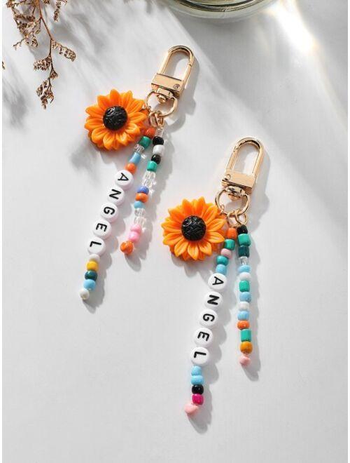 Shein 2pcs Flower Charm Keychain