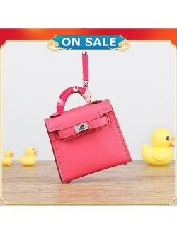 Brand New Genuine Cow Leather Bag Charm Trending Mini Bag Key Holder Luxury Swift Leather Bag Pendant Fashion Keychains Handmade
