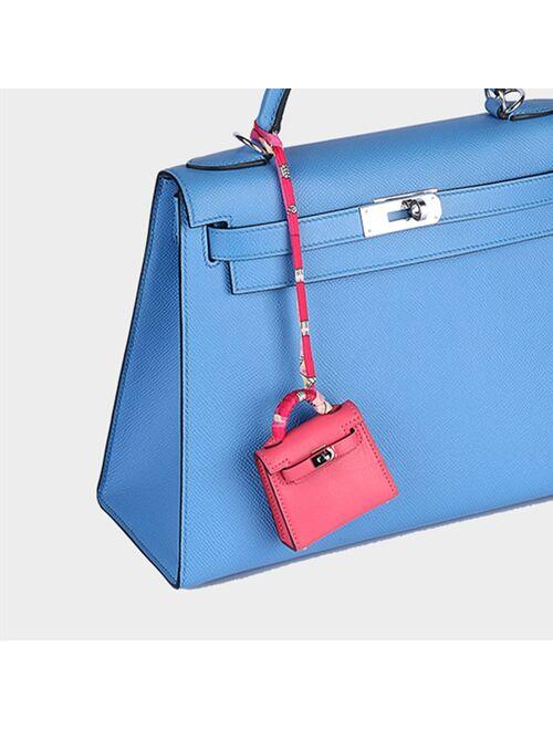 Pandora Brand New Genuine Cow Leather Bag Charm Trending Mini Bag Key Holder Luxury Swift Leather Bag Pendant Fashion Keychains Handmade