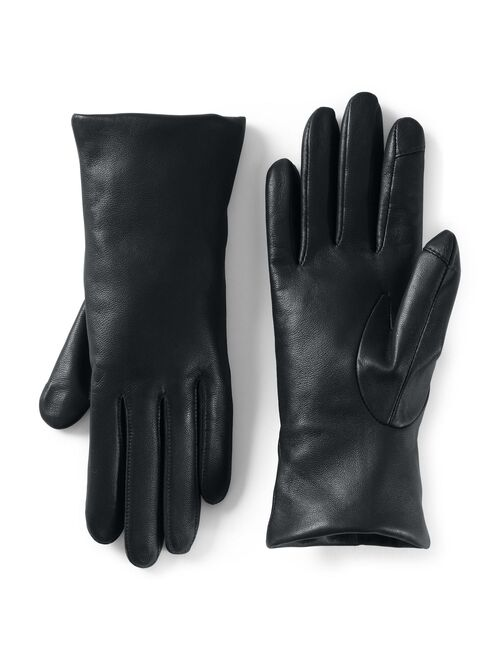 Women's Lands' End Touch Screen Compatible Leather Gloves with Cashmere Lining