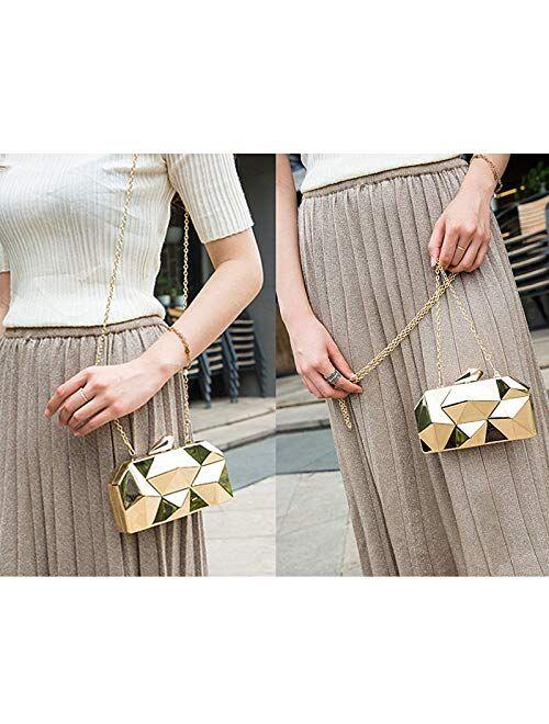 Reberomantic Goodbag Women Lattice Pattern Metal Handbag Chain Geometric Evening Clutch