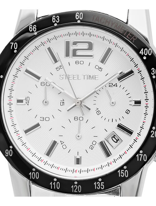 Steel Time White & Stainless Steel Chronograph Watch