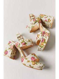Uo Rachel Floral Strappy Platform Heel