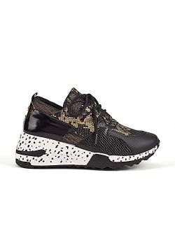 LUCKY STEP Women's Leopard Colorblock lace up Sneakers Cosy Chunky Climbing Hiking Running Shoes.