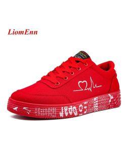 Women's Canvas Sneakers  2021 Flat Sport Shoes Woman Men Unisex heart Design Ladies Red Casual Vulcanized Shoe Tennis Size 35-44